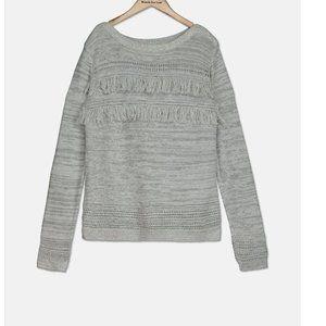 Old Navy Kids Girls Long Sleeve Fringe Sweater, GREY